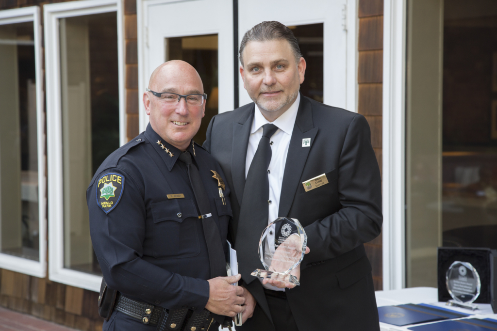 Police Chief Robert Jonsen, City of Menlo Park, who received the Public Service Award, with Mayor Rich Cline.